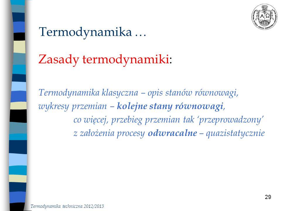 29 Zasady termodynamiki: Termodynamika klasyczna – opis stanów równowagi, wykresy przemian – kolejne stany równowagi, co więcej, przebieg przemian tak