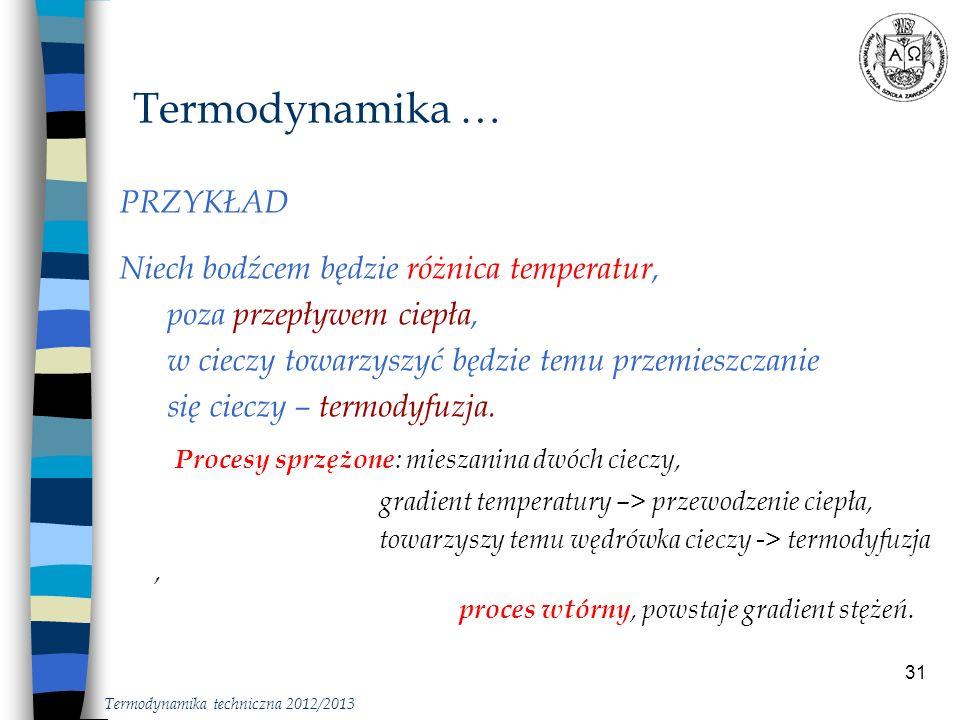 31 Termodynamika … PRZYKŁAD Niech bodźcem będzie różnica temperatur, poza przepływem ciepła, w cieczy towarzyszyć będzie temu przemieszczanie się ciec