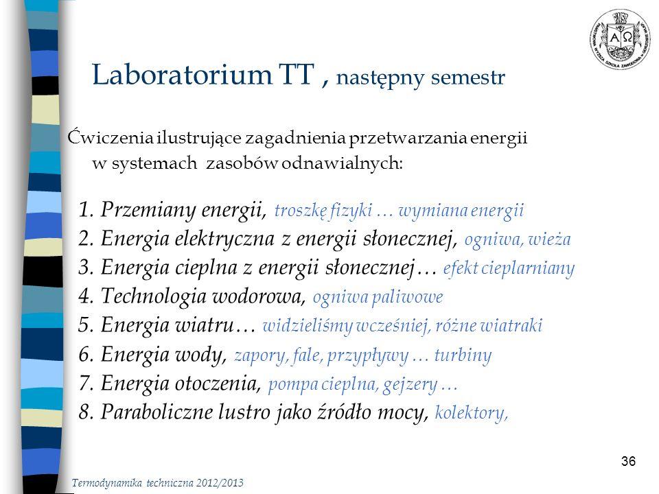 36 Ćwiczenia ilustrujące zagadnienia przetwarzania energii w systemach zasobów odnawialnych: 1. Przemiany energii, troszkę fizyki … wymiana energii 2.