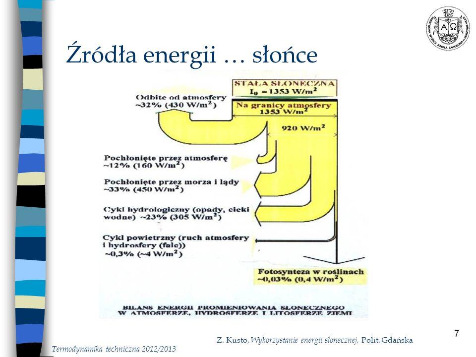 8 Źródła energii … słońce Termodynamika techniczna 2012/2013 Stała słoneczna - I o = 1353 W/m 2 gęstość strumienia energii promieniowania słonecznego padającego na metr kwadratowy płaszczyzny prostopadłej do kierunku promieniowania na granicy ziemskiej atmosfery Promieniowanie docierające do powierzchni Ziemi to: - składowa bezpośredniego napromieniowania, - składowa promieniowania rozproszonego: - w atmosferze Ziemi, - przez obiekty na Ziemi.