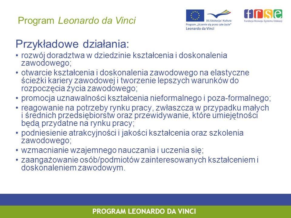 PROGRAM LEONARDO DA VINCI PROGRAM UCZENIE SIĘ PRZEZ CAŁE ŻYCIE PROGRAM LEONARDO DA VINCI Przykładowe działania: rozwój doradztwa w dziedzinie kształce