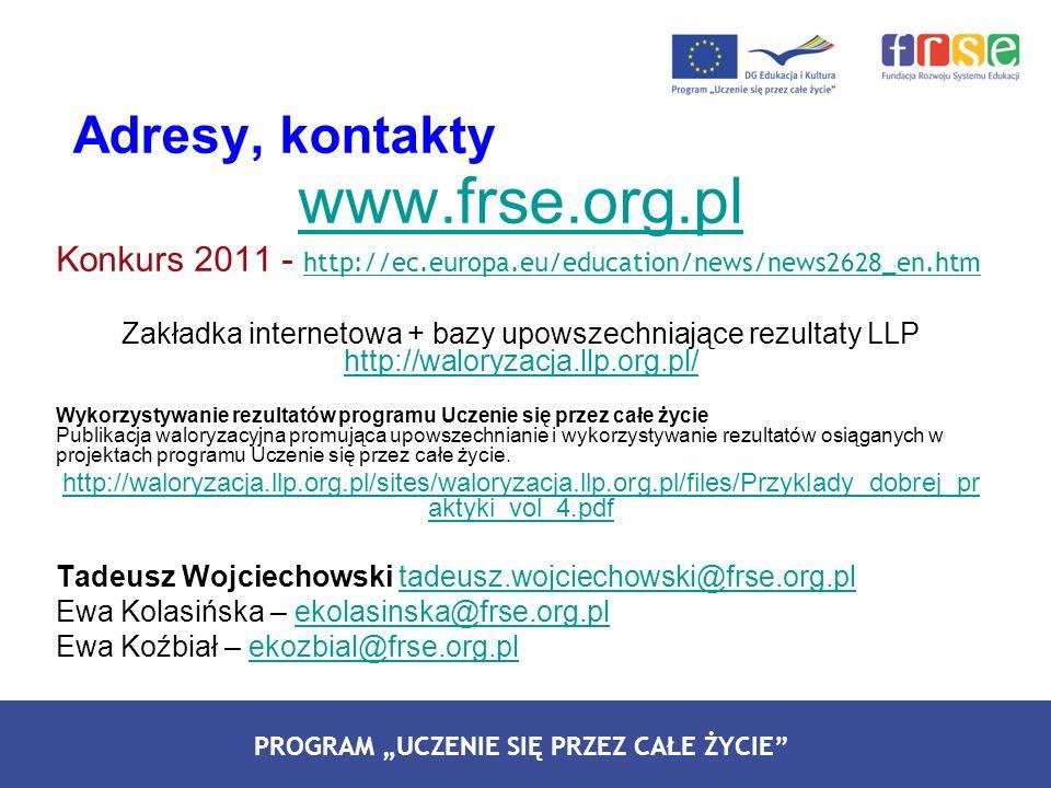 PROGRAM LEONARDO DA VINCI PROGRAM UCZENIE SIĘ PRZEZ CAŁE ŻYCIE Adresy, kontakty www.frse.org.pl Konkurs 2011 - http://ec.europa.eu/education/news/news