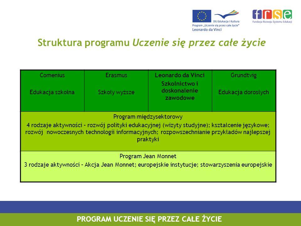 PROGRAM LEONARDO DA VINCI PROGRAM UCZENIE SIĘ PRZEZ CAŁE ŻYCIE Struktura programu Uczenie się przez całe życie Comenius Edukacja szkolna Erasmus Szkoł