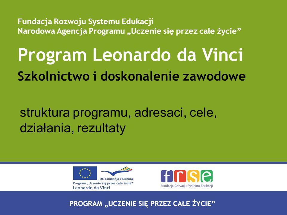 PROGRAM LEONARDO DA VINCI PROGRAM UCZENIE SIĘ PRZEZ CAŁE ŻYCIE Program Leonardo da Vinci Szkolnictwo i doskonalenie zawodowe struktura programu, adres