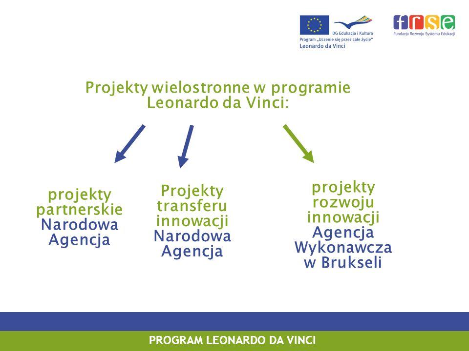 PROGRAM LEONARDO DA VINCI PROGRAM UCZENIE SIĘ PRZEZ CAŁE ŻYCIE PROGRAM LEONARDO DA VINCI Projekty wielostronne w programie Leonardo da Vinci: Projekty