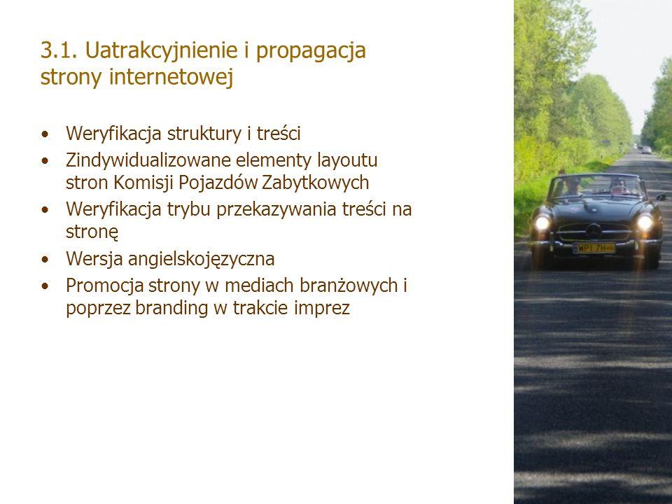 3.1. Uatrakcyjnienie i propagacja strony internetowej Weryfikacja struktury i treści Zindywidualizowane elementy layoutu stron Komisji Pojazdów Zabytk