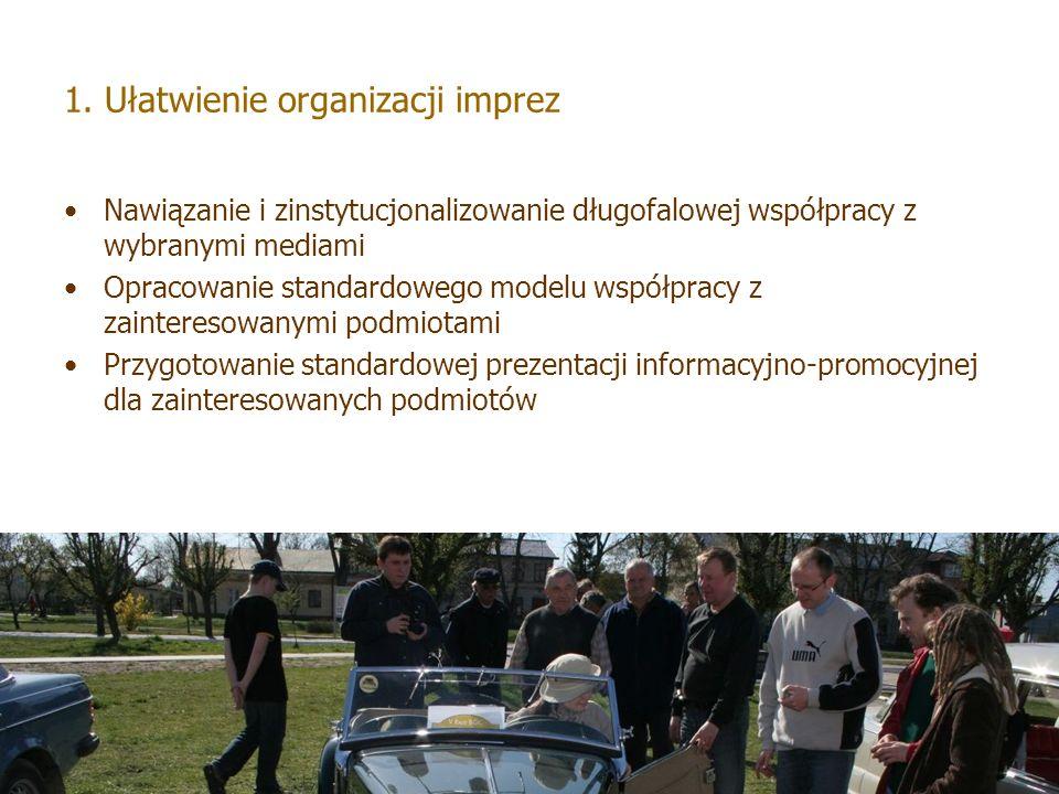 1. Ułatwienie organizacji imprez Nawiązanie i zinstytucjonalizowanie długofalowej współpracy z wybranymi mediami Opracowanie standardowego modelu wspó