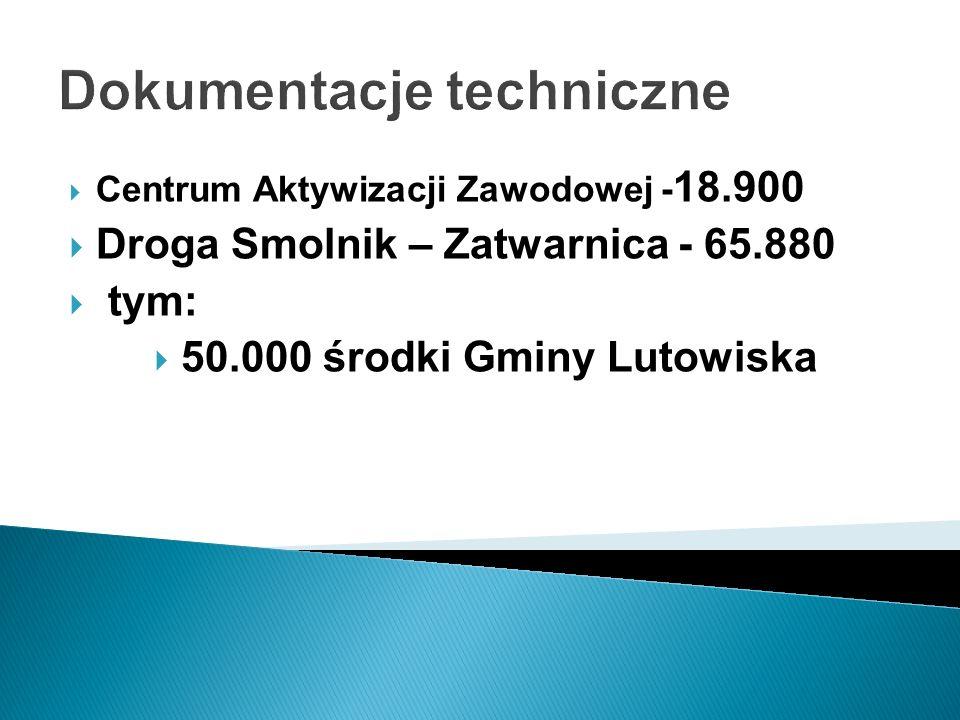 Dokumentacje techniczne Centrum Aktywizacji Zawodowej - 18.900 Droga Smolnik – Zatwarnica - 65.880 tym: 50.000 środki Gminy Lutowiska