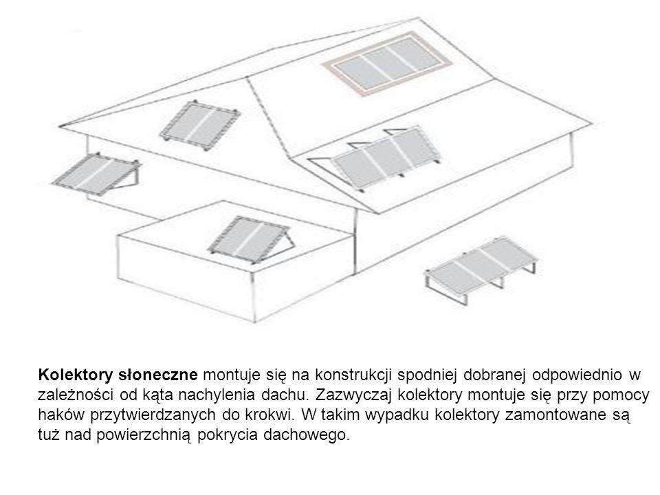 Kolektory słoneczne montuje się na konstrukcji spodniej dobranej odpowiednio w zależności od kąta nachylenia dachu. Zazwyczaj kolektory montuje się pr