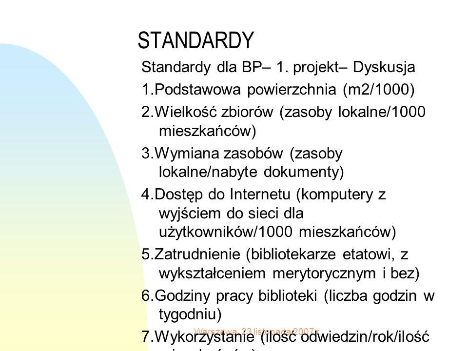 Warszawa, 23 listopada 2007 r. STANDARDY Standardy dla BP– 1.
