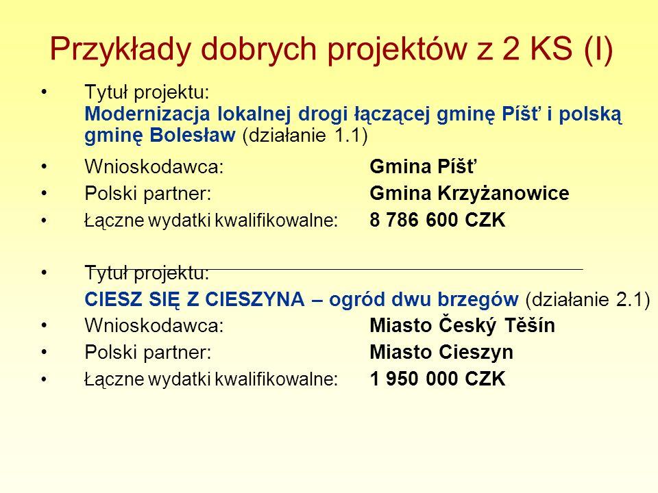 Przykłady dobrych projektów z 2 KS (I) Tytuł projektu: Modernizacja lokalnej drogi łączącej gminę Píšť i polską gminę Bolesław (działanie 1.1) Wniosko