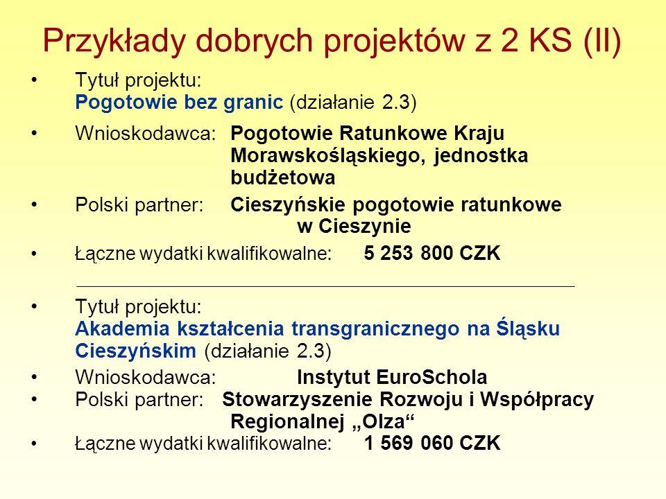 Przykłady dobrych projektów z 2 KS (II) Tytuł projektu: Pogotowie bez granic (działanie 2.3) Wnioskodawca:Pogotowie Ratunkowe Kraju Morawskośląskiego,