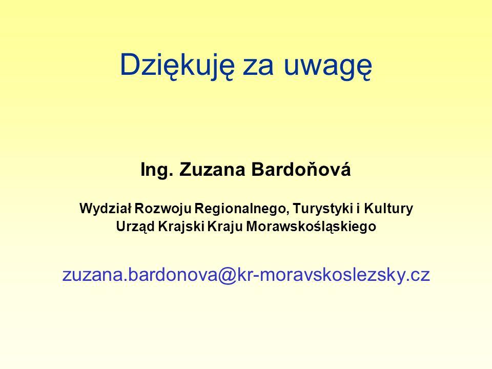 Dziękuję za uwagę Ing. Zuzana Bardoňová Wydział Rozwoju Regionalnego, Turystyki i Kultury Urząd Krajski Kraju Morawskośląskiego zuzana.bardonova@kr-mo