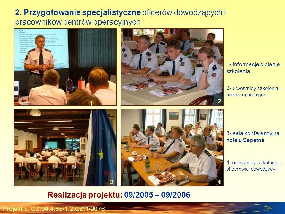 Projekt č. CZ.04.4.85/1.2.CZ.1/0076 2. Przygotowanie specjalistyczne oficerów dowodzących i pracowników centrów operacyjnych 1 2 3 1- informacje o pla