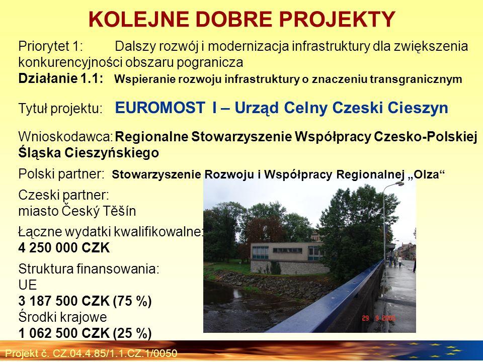 Projekt č. CZ.04.4.85/1.1.CZ.1/0050 Priorytet 1:Dalszy rozwój i modernizacja infrastruktury dla zwiększenia konkurencyjności obszaru pogranicza Działa
