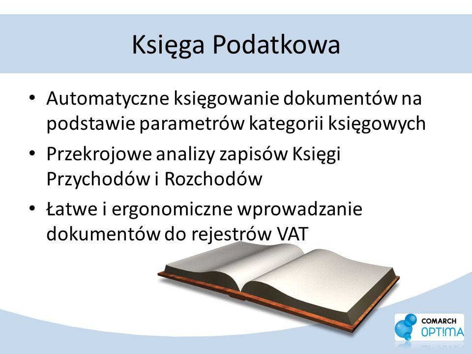 Księga Podatkowa Automatyczne księgowanie dokumentów na podstawie parametrów kategorii księgowych Przekrojowe analizy zapisów Księgi Przychodów i Rozc