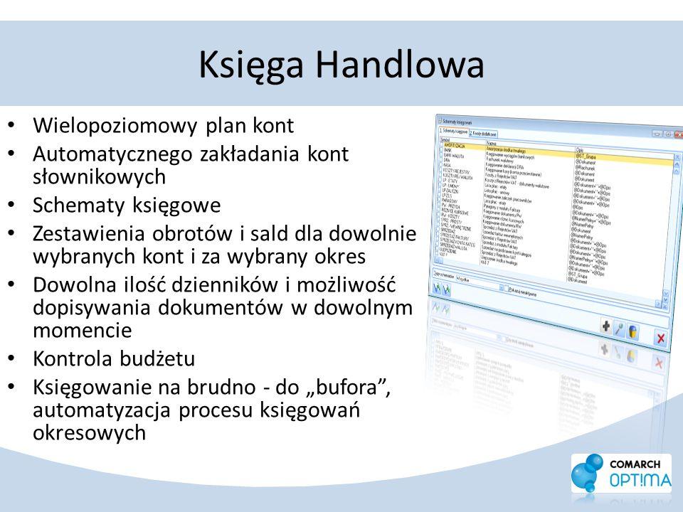 Księga Handlowa Wielopoziomowy plan kont Automatycznego zakładania kont słownikowych Schematy księgowe Zestawienia obrotów i sald dla dowolnie wybrany