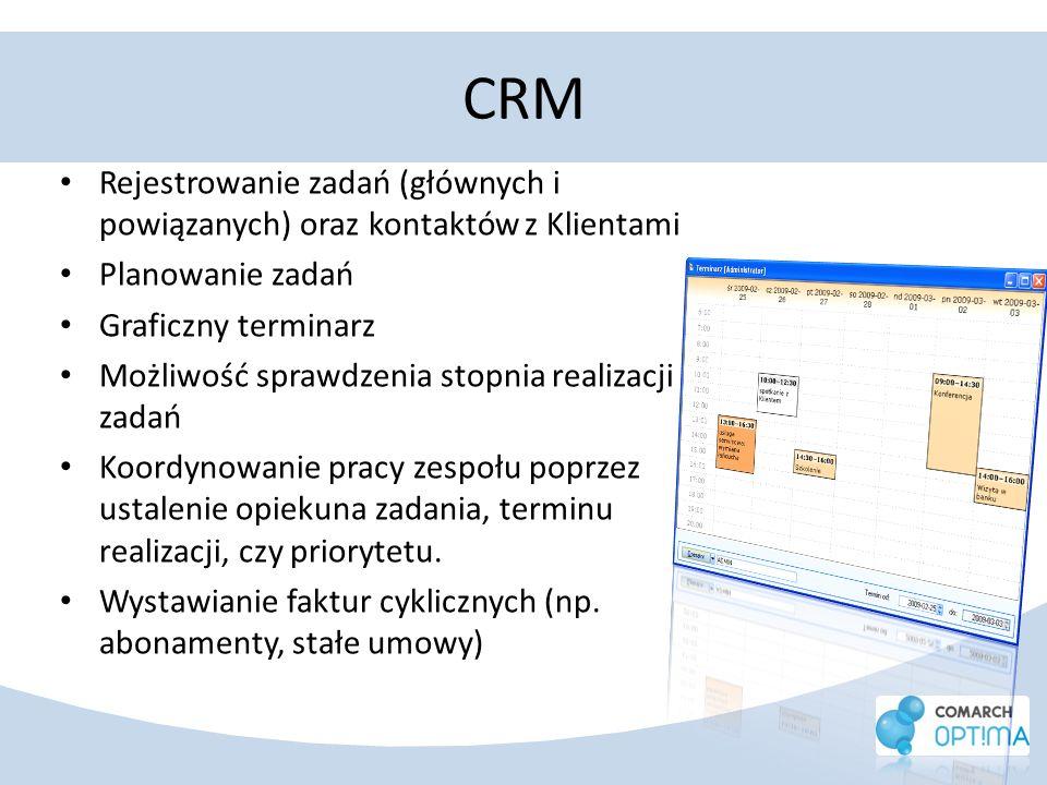 CRM Rejestrowanie zadań (głównych i powiązanych) oraz kontaktów z Klientami Planowanie zadań Graficzny terminarz Możliwość sprawdzenia stopnia realiza