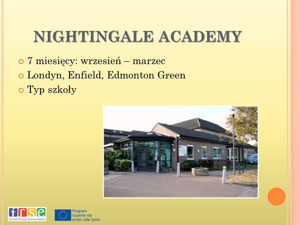 NIGHTINGALE ACADEMY 7 miesięcy: wrzesień – marzec Londyn, Enfield, Edmonton Green Typ szkoły