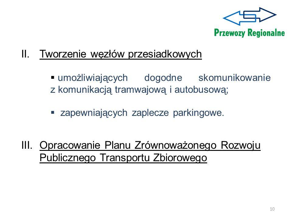 10 II.Tworzenie węzłów przesiadkowych umożliwiających dogodne skomunikowanie z komunikacją tramwajową i autobusową; zapewniających zaplecze parkingowe