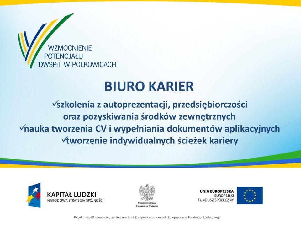BIURO KARIER szkolenia z autoprezentacji, przedsiębiorczości oraz pozyskiwania środków zewnętrznych nauka tworzenia CV i wypełniania dokumentów aplika