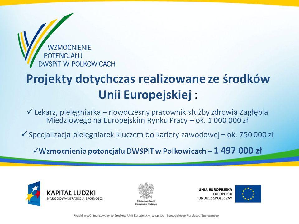Projekty dotychczas realizowane ze środków Unii Europejskiej : Lekarz, pielęgniarka – nowoczesny pracownik służby zdrowia Zagłębia Miedziowego na Europejskim Rynku Pracy – ok.