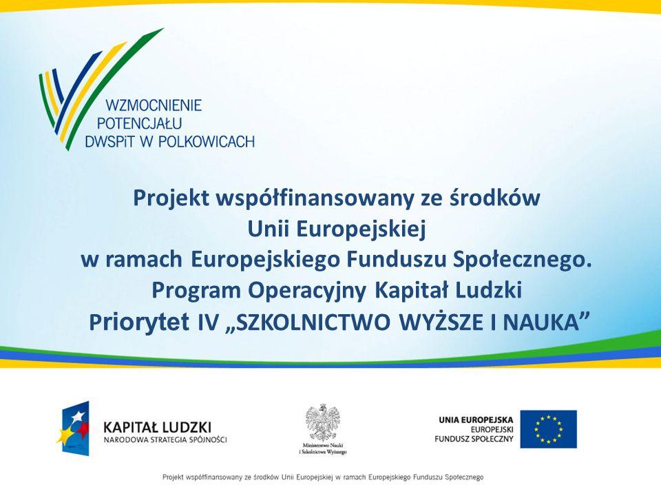 Projekt współfinansowany ze środków Unii Europejskiej w ramach Europejskiego Funduszu Społecznego. Program Operacyjny Kapitał Ludzki P riorytet IV SZK