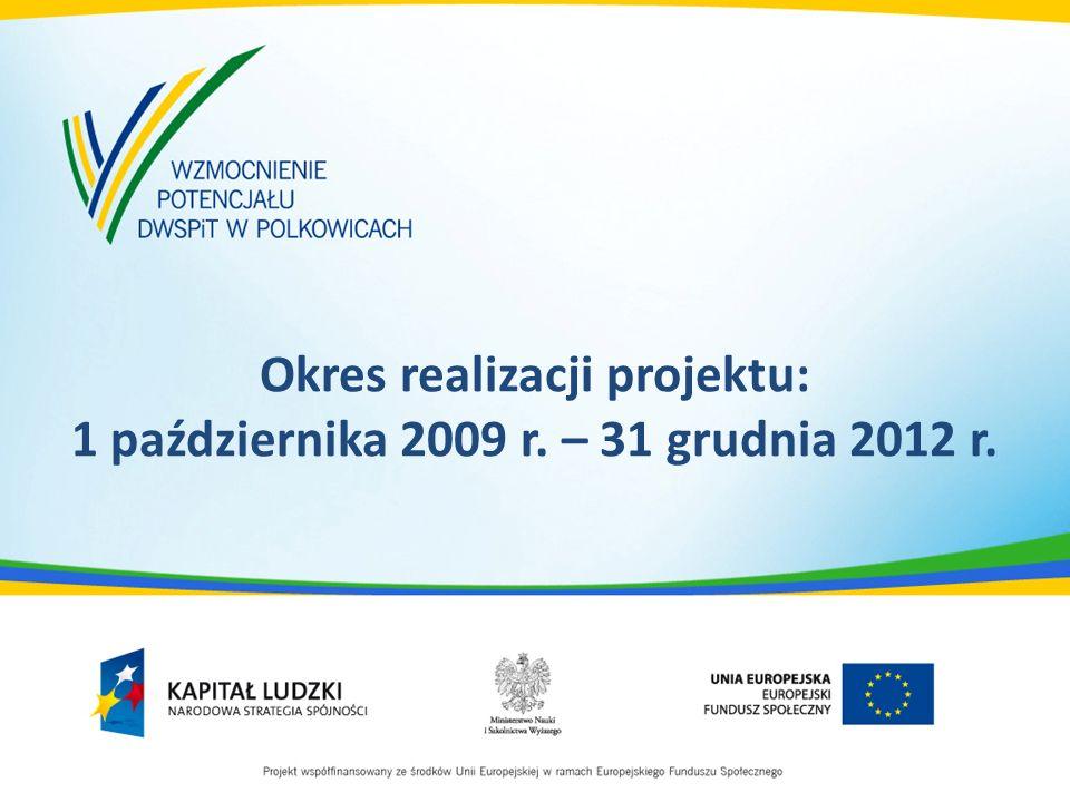 Okres realizacji projektu: 1 października 2009 r. – 31 grudnia 2012 r.