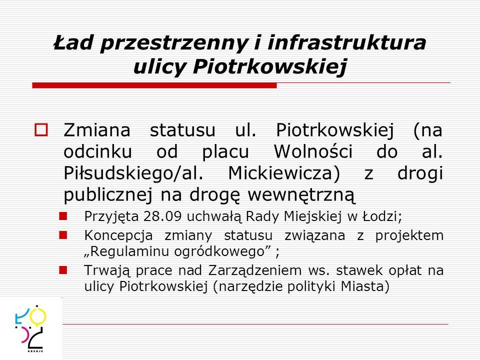 Ład przestrzenny i infrastruktura ulicy Piotrkowskiej Zmiana statusu ul. Piotrkowskiej (na odcinku od placu Wolności do al. Piłsudskiego/al. Mickiewic