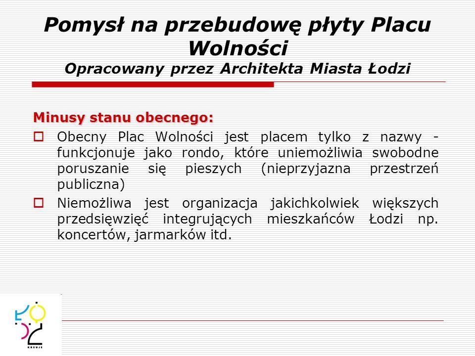 Pomysł na przebudowę płyty Placu Wolności Opracowany przez Architekta Miasta Łodzi Minusy stanu obecnego: Obecny Plac Wolności jest placem tylko z naz