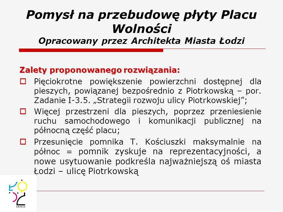 Pomysł na przebudowę płyty Placu Wolności Opracowany przez Architekta Miasta Łodzi Zalety proponowanego rozwiązania: Pięciokrotne powiększenie powierz