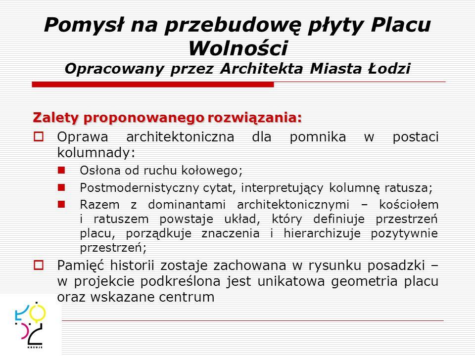Pomysł na przebudowę płyty Placu Wolności Opracowany przez Architekta Miasta Łodzi Zalety proponowanego rozwiązania: Oprawa architektoniczna dla pomni