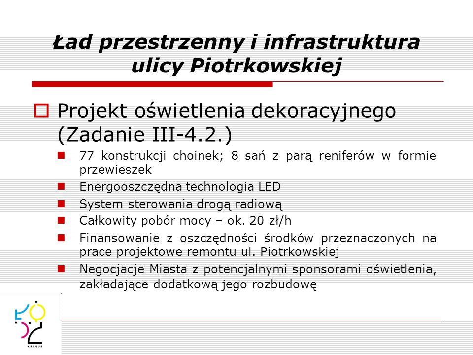 Projekt oświetlenia dekoracyjnego (Zadanie III-4.2.) 77 konstrukcji choinek; 8 sań z parą reniferów w formie przewieszek Energooszczędna technologia L