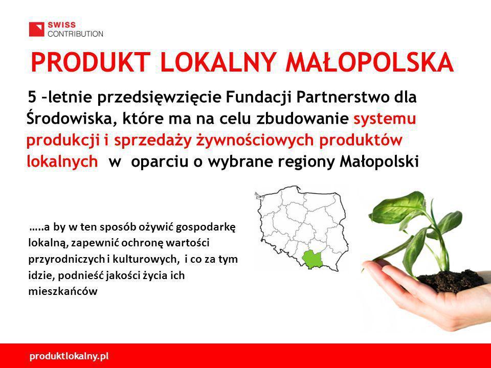 produktlokalny.pl PRODUKT LOKALNY MAŁOPOLSKA 5 –letnie przedsięwzięcie Fundacji Partnerstwo dla Środowiska, które ma na celu zbudowanie systemu produkcji i sprzedaży żywnościowych produktów lokalnych w oparciu o wybrane regiony Małopolski …..a by w ten sposób ożywić gospodarkę lokalną, zapewnić ochronę wartości przyrodniczych i kulturowych, i co za tym idzie, podnieść jakości życia ich mieszkańców
