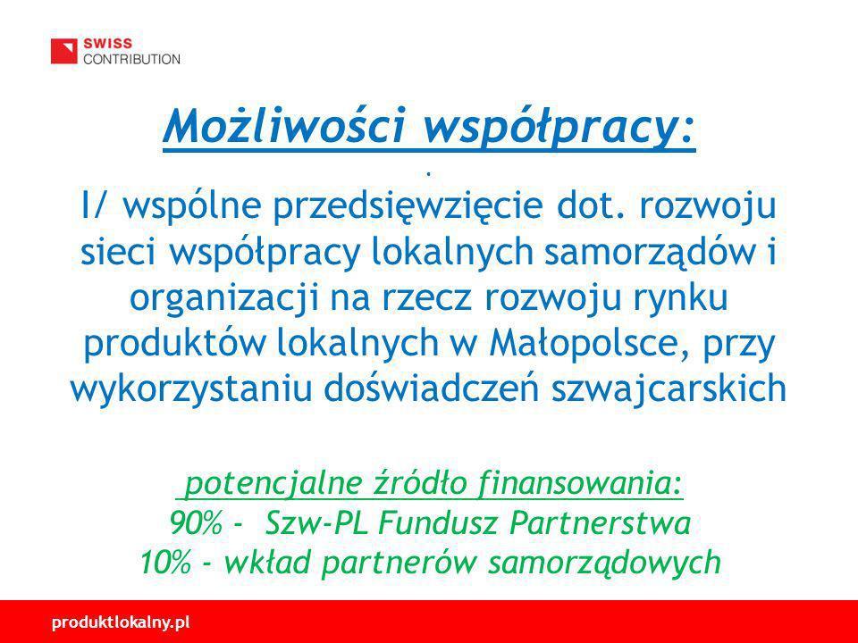 produktlokalny.pl Możliwości współpracy:.I/ wspólne przedsięwzięcie dot.