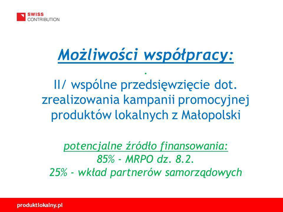 produktlokalny.pl Możliwości współpracy:.II/ wspólne przedsięwzięcie dot.