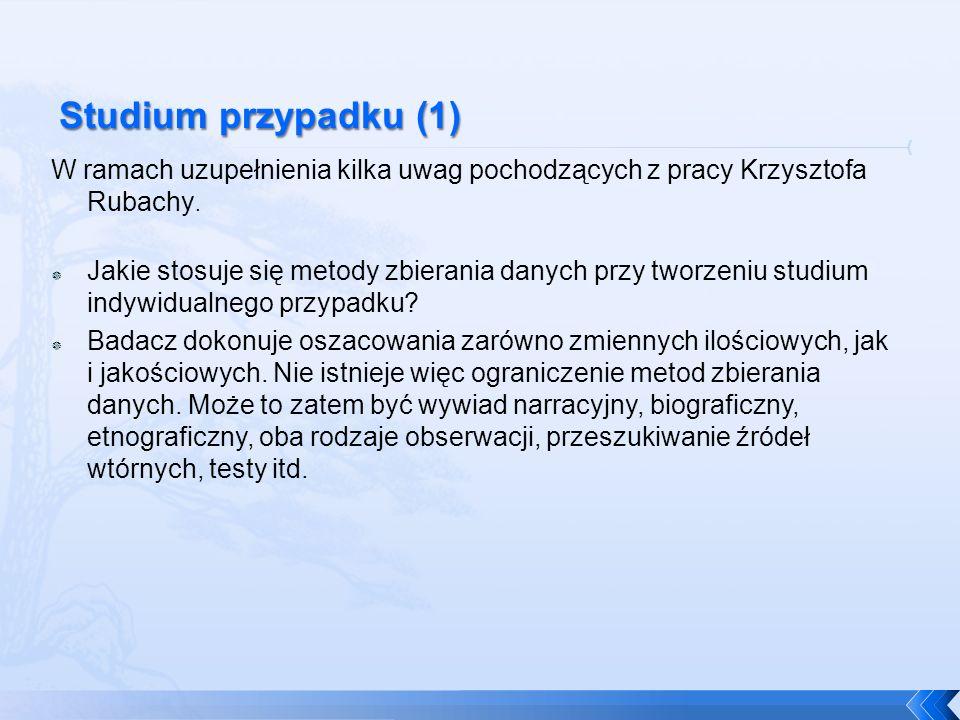 W ramach uzupełnienia kilka uwag pochodzących z pracy Krzysztofa Rubachy. Jakie stosuje się metody zbierania danych przy tworzeniu studium indywidualn