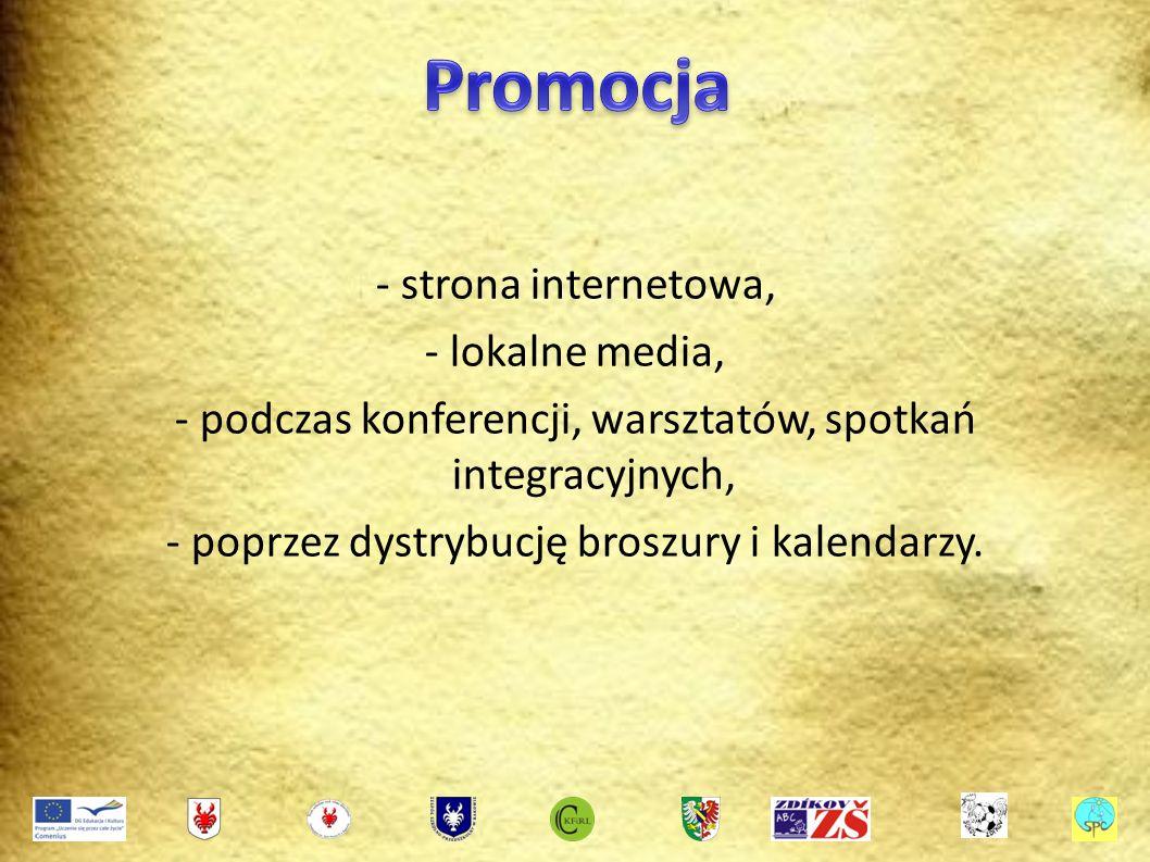 - strona internetowa, - lokalne media, - podczas konferencji, warsztatów, spotkań integracyjnych, - poprzez dystrybucję broszury i kalendarzy.