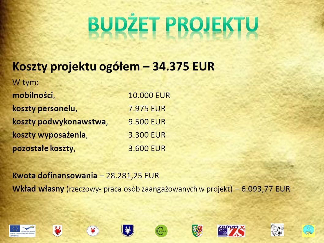 Koszty projektu ogółem – 34.375 EUR W tym: mobilności,10.000 EUR koszty personelu,7.975 EUR koszty podwykonawstwa,9.500 EUR koszty wyposażenia,3.300 EUR pozostałe koszty,3.600 EUR Kwota dofinansowania – 28.281,25 EUR Wkład własny ( rzeczowy- praca osób zaangażowanych w projekt ) – 6.093,77 EUR