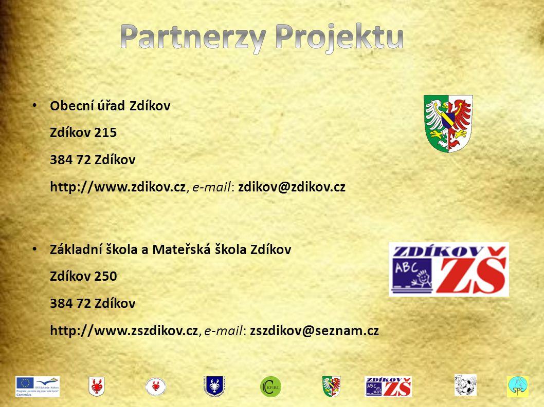 Obecní úřad Zdíkov Zdíkov 215 384 72 Zdíkov http://www.zdikov.cz, e-mail: zdikov@zdikov.cz Základní škola a Mateřská škola Zdíkov Zdíkov 250 384 72 Zdíkov http://www.zszdikov.cz, e-mail: zszdikov@seznam.cz