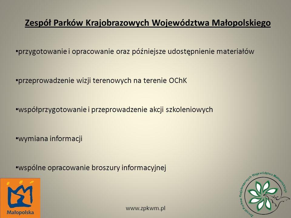 Zespół Parków Krajobrazowych Województwa Małopolskiego przygotowanie i opracowanie oraz późniejsze udostępnienie materiałów przeprowadzenie wizji tere