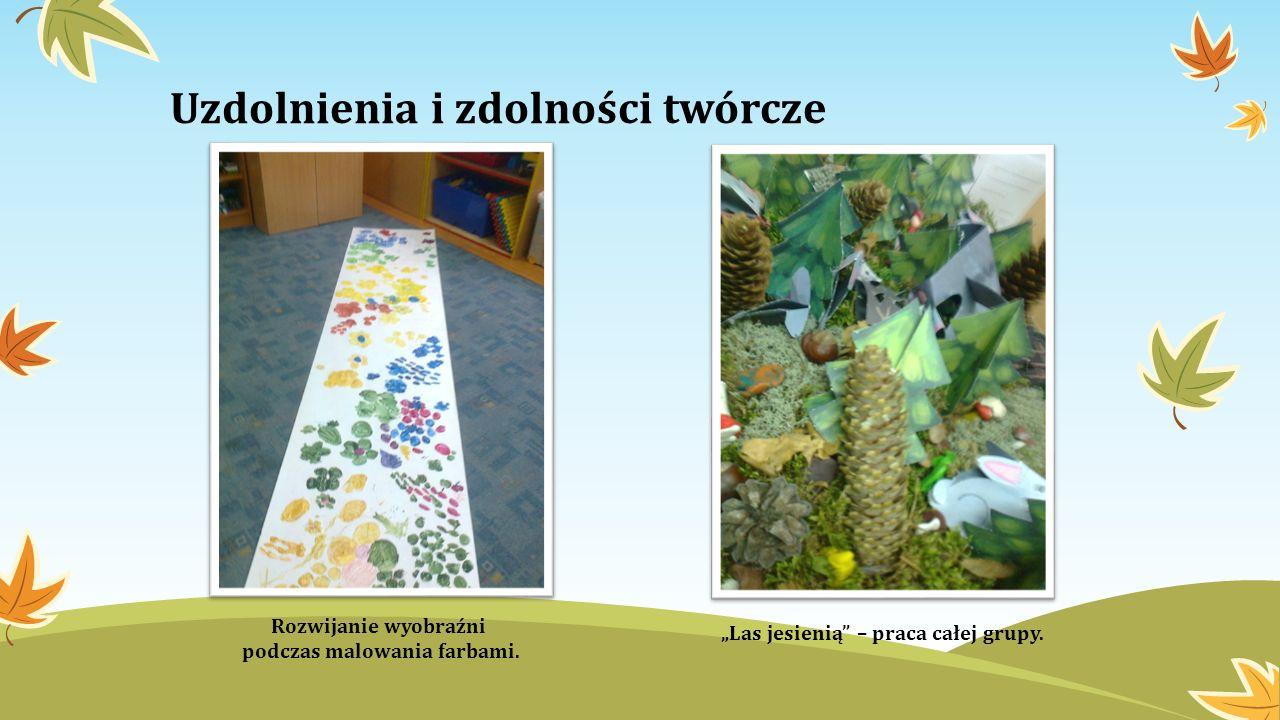 Uzdolnienia i zdolności twórcze Rozwijanie wyobraźni podczas malowania farbami. Las jesienią – praca całej grupy.