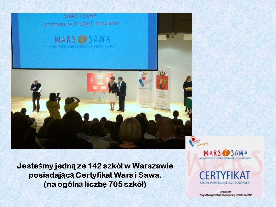 Jeste ś my jedn ą ze 142 szkó ł w Warszawie posiadaj ą c ą Certyfikat Wars i Sawa. (na ogóln ą liczb ę 705 szkó ł )