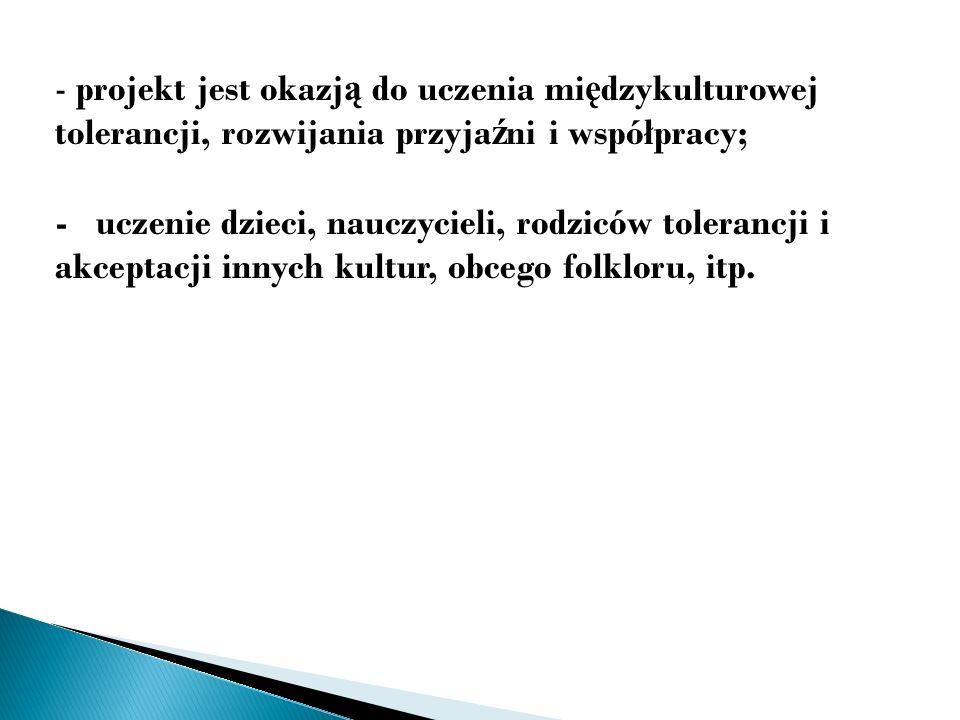 Działania podejmowane przez ka ż dego uczestnika, w tym nasze przedszkole w ramach projektu to mi ę dzy innymi: - nagranie i przedstawienie partnerom płyty DVD – Poznajmy si ę – JA - dla moich przyjaciół ; - opracowanie i przekazanie ka ż demu z partnerów broszury Polska - Ś rem – nasze przedszkole, miasto, okolica i kraj; (w j.
