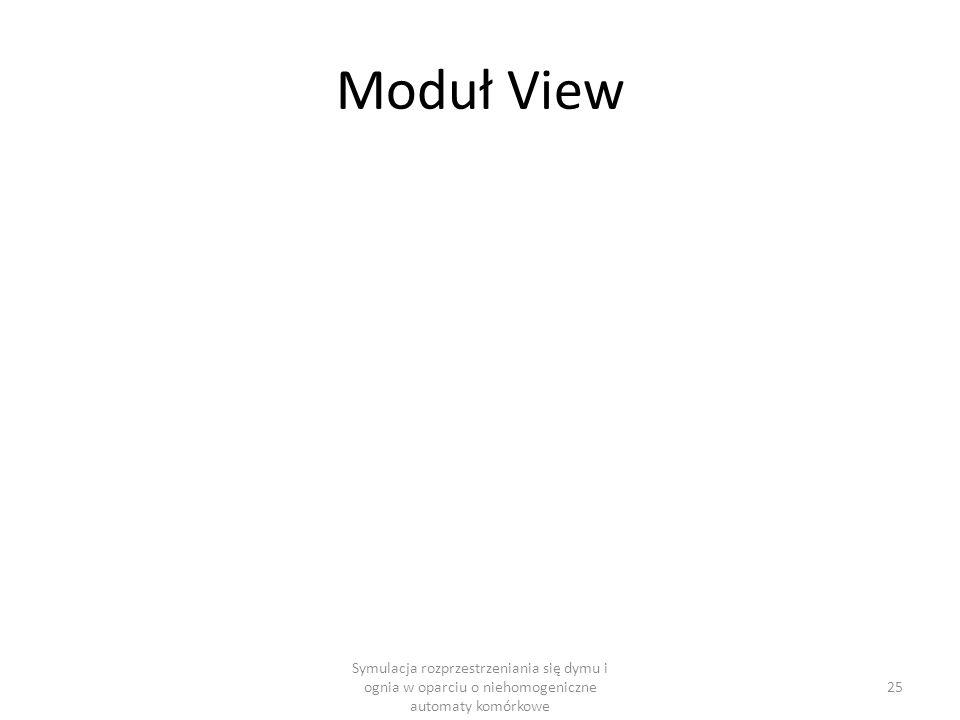 Moduł View Symulacja rozprzestrzeniania się dymu i ognia w oparciu o niehomogeniczne automaty komórkowe 25