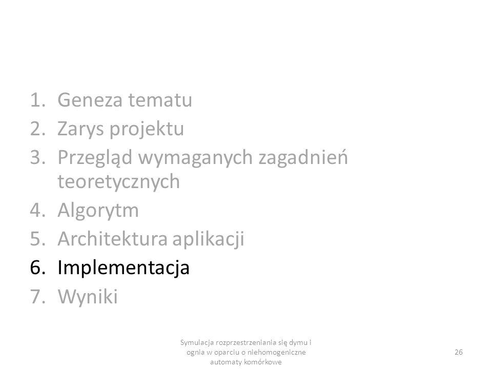 1.Geneza tematu 2.Zarys projektu 3.Przegląd wymaganych zagadnień teoretycznych 4.Algorytm 5.Architektura aplikacji 6.Implementacja 7.Wyniki 26 Symulac