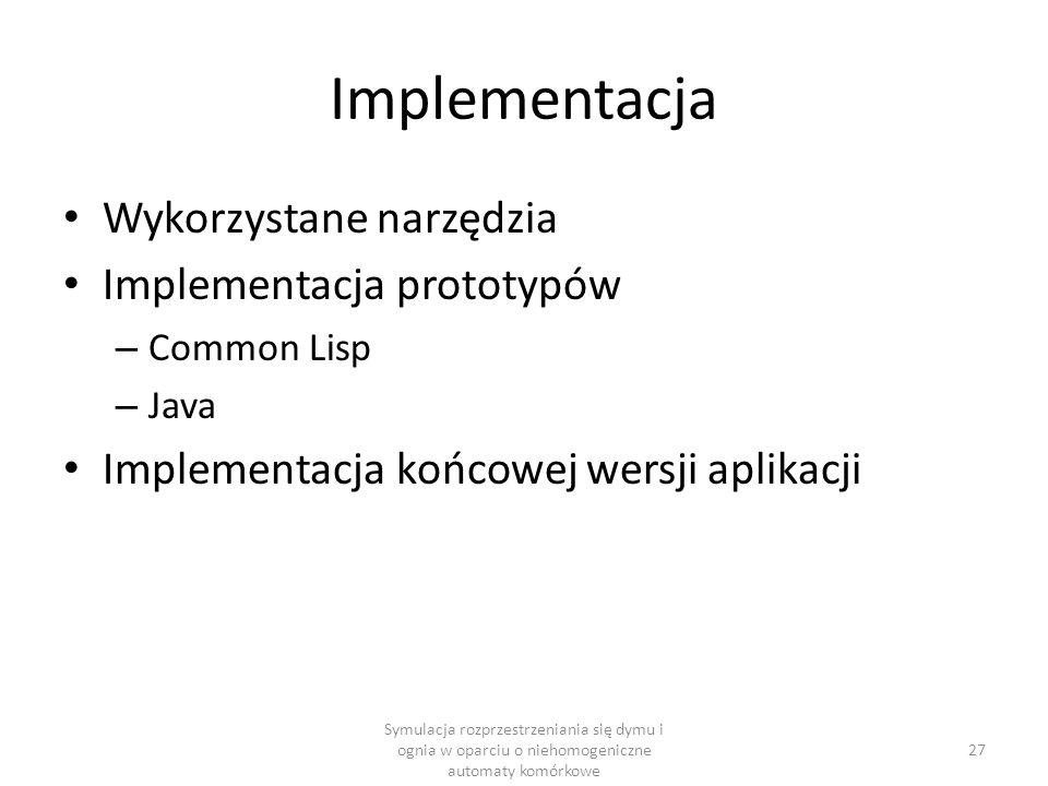 Implementacja Wykorzystane narzędzia Implementacja prototypów – Common Lisp – Java Implementacja końcowej wersji aplikacji Symulacja rozprzestrzeniani