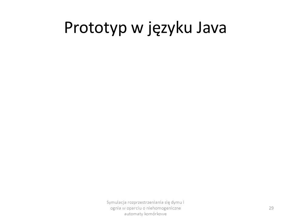Prototyp w języku Java Symulacja rozprzestrzeniania się dymu i ognia w oparciu o niehomogeniczne automaty komórkowe 29
