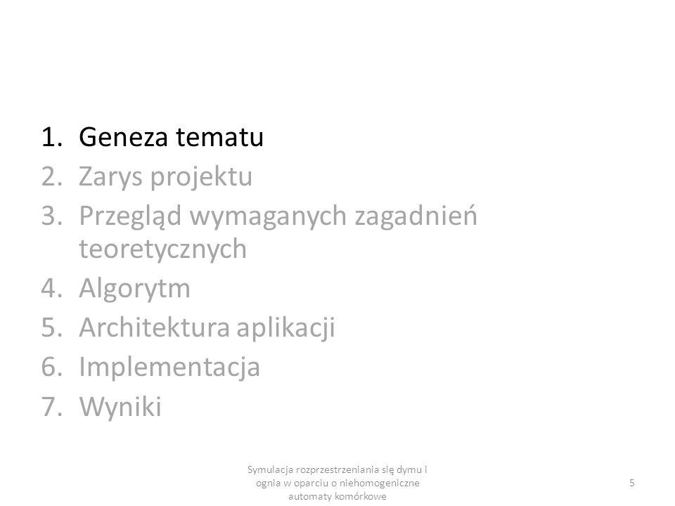 1.Geneza tematu 2.Zarys projektu 3.Przegląd wymaganych zagadnień teoretycznych 4.Algorytm 5.Architektura aplikacji 6.Implementacja 7.Wyniki 5 Symulacj
