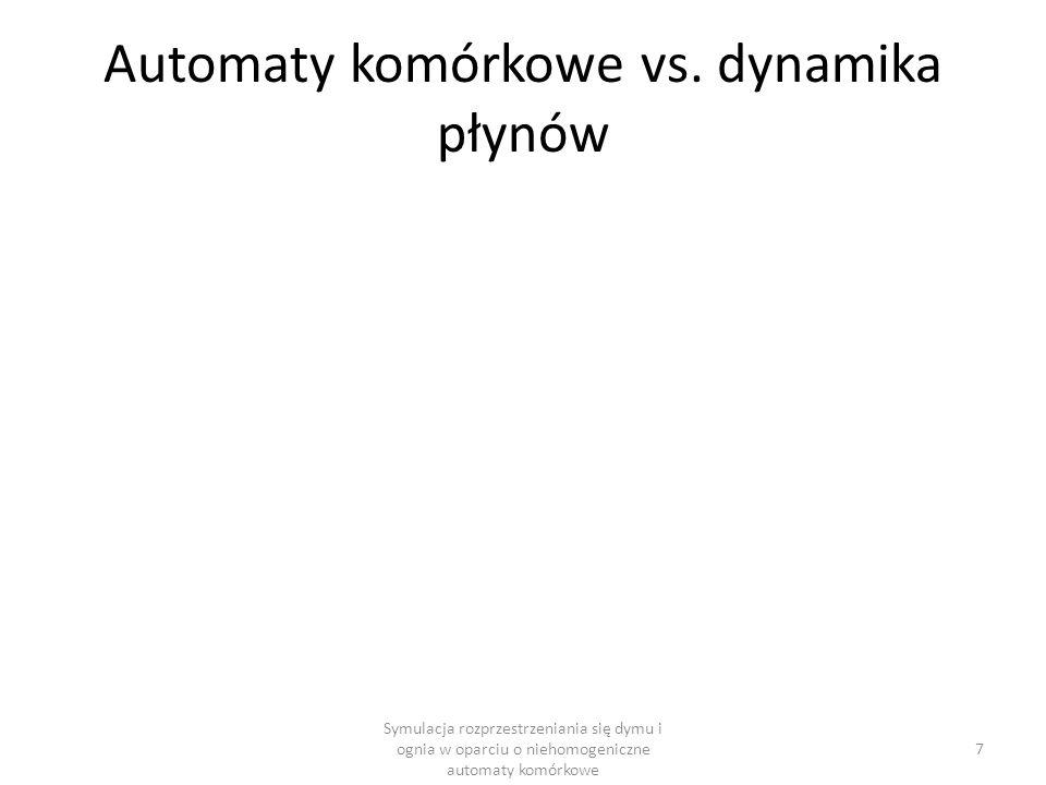 Automaty komórkowe vs. dynamika płynów Symulacja rozprzestrzeniania się dymu i ognia w oparciu o niehomogeniczne automaty komórkowe 7
